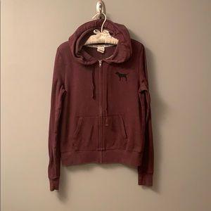 Maroon PINK full zip hoodie.